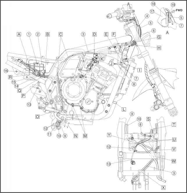 Wiring Diagram Yamaha Fazer 1000 : Cable routing yamaha fazer kappa motorbikes